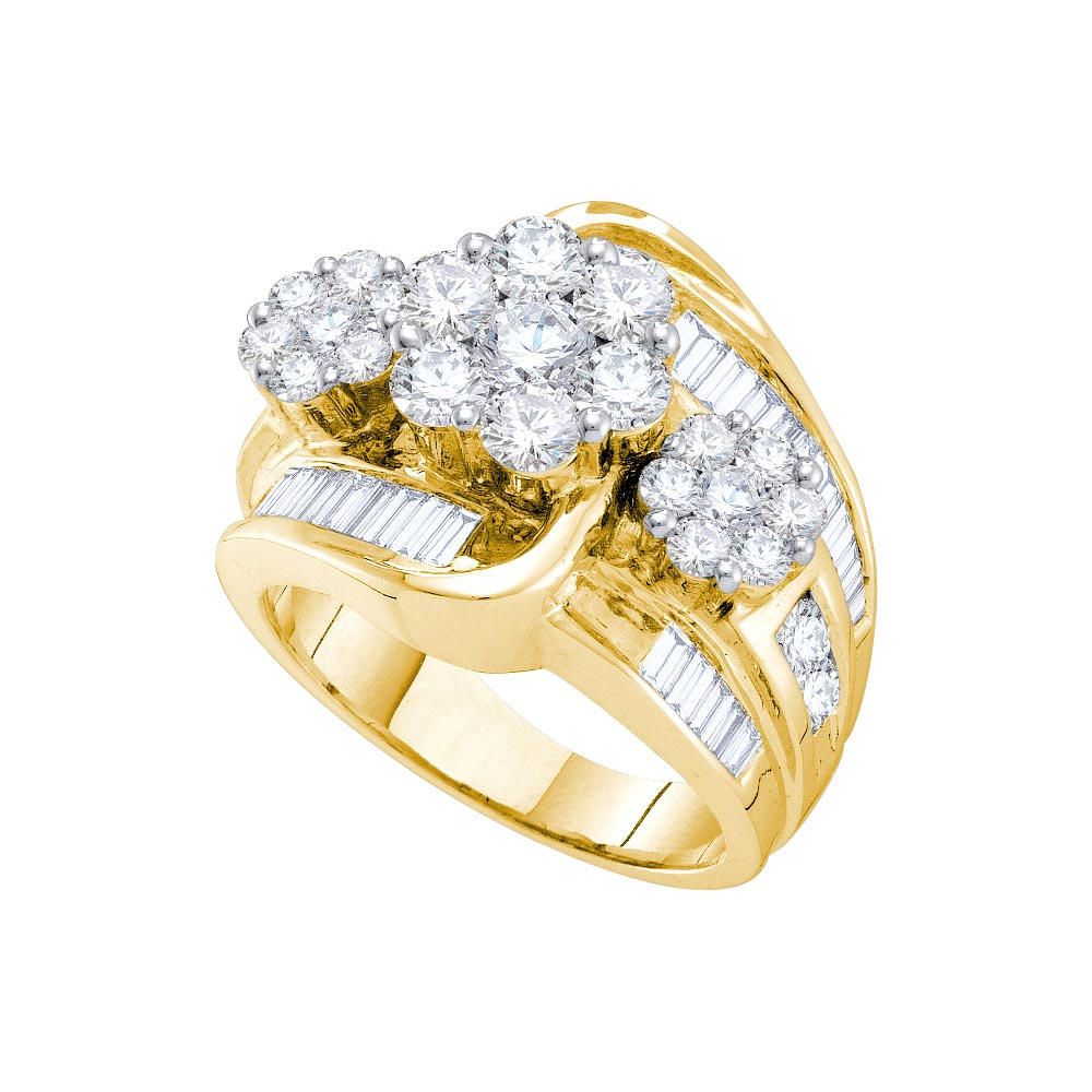 Natural 300ctw Diamond Flower Ring 14kt Yellow Gold 21st Century